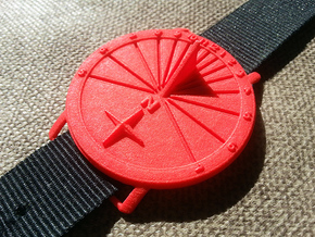 35N Sundial Wristwatch With Compass Rose in Red Processed Versatile Plastic