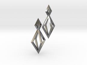Double Diamond Earrings in Polished Silver