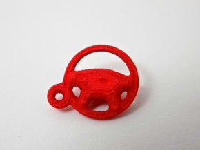 Steering Wheel Keychain Charm in Red Processed Versatile Plastic