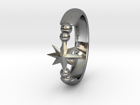 Ring of Star 15.7mm size 5  in Fine Detail Polished Silver