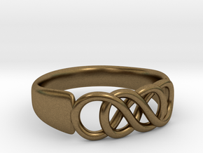 Double Infinity Ring 16.5mm size 6 in Natural Bronze