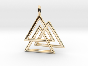 Vikings Valknut Pendant in 14K Yellow Gold