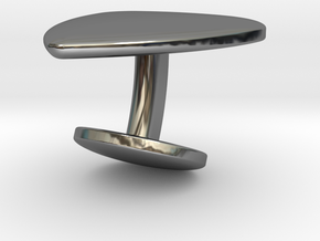 Cufflink Plectrum in Fine Detail Polished Silver