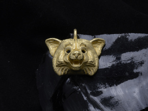 Red Panda Pendant in Polished Gold Steel