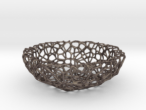 Little Bowl (15 cm) - Voronoi-Style #4 in Polished Bronzed Silver Steel