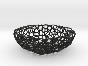 Mini Key shell / bowl (9 cm) - Voronoi-Style #4 in Black Natural Versatile Plastic