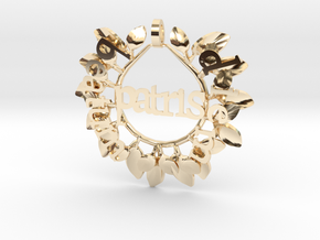 pendant beatum diem patris: latin Happy Father's D in 14k Gold Plated Brass