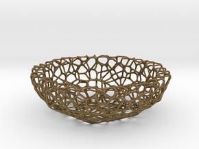 Mini Key shell / bowl (8 cm) - Voronoi-Style #1 in Natural Bronze