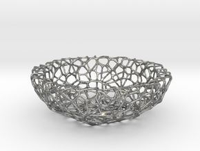 Mini shell / bowl (6 cm) - Voronoi-Style #1 in Natural Silver
