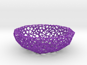 Mini Key shell / bowl (9 cm) - Voronoi-Style #5 in Purple Processed Versatile Plastic