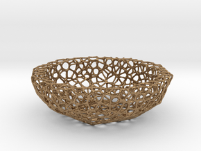 Mini Key shell / bowl (9 cm) - Voronoi-Style #5 in Natural Brass