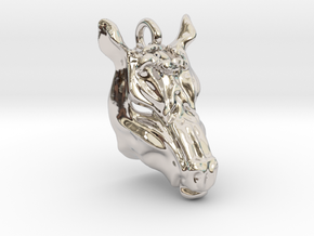 Horse 2 Pendant in Rhodium Plated Brass