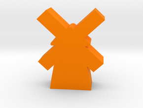 Game Piece, Windmill in Orange Strong & Flexible Polished