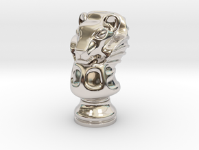 13Lion Small Single in Rhodium Plated Brass