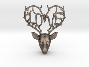 Love Deer Pendant in Polished Bronzed Silver Steel
