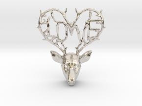 Love Deer Pendant in Rhodium Plated Brass