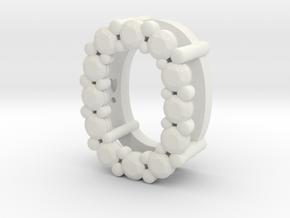 "Pendentif Initial, letter ""O"" in White Natural Versatile Plastic"