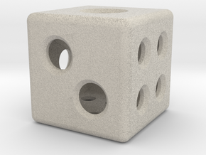 Loaded Hollow Dice (D6) (1.5cm) in Natural Sandstone