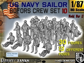 1-87 USN Bofors OKI Crew SET 10 in Smooth Fine Detail Plastic