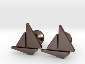 Custom Logo Cufflinks in Polished Bronze Steel