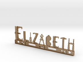 Elizabeth Nametag in Matte Gold Steel