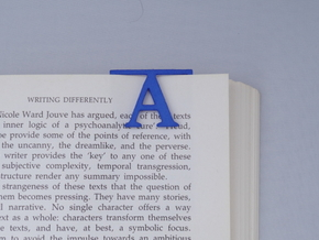Bookmark Monogram. Initial / Letter A  in Blue Processed Versatile Plastic