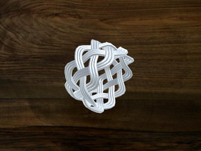 Turk's Head Knot Ring 4 Part X 9 Bight - Size 7 in White Natural Versatile Plastic