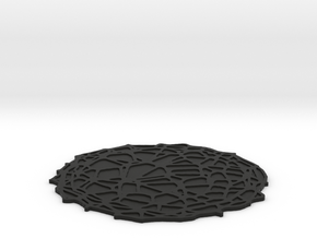Drink coaster with floor - Voronoi #4 (8 cm) in Black Natural Versatile Plastic