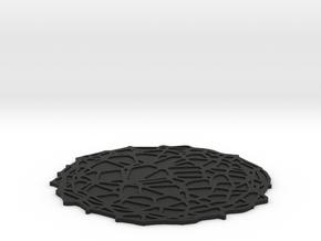 Drink coaster with floor - Voronoi #4 (8 cm) in Black Natural Versatile Plastic
