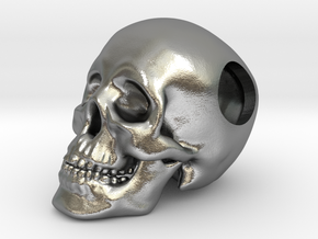 Human Skull Bead - small in Natural Silver