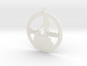 3D Printed Block Island Coin in White Processed Versatile Plastic