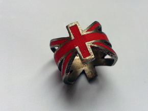 Union Jack Size 7 in Polished Bronzed Silver Steel
