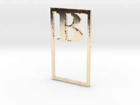 Bookmark Monogram. Initial / Letter  B  in 14k Gold Plated Brass
