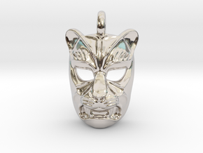 Leopard kabuki-style Small Pendant in Platinum