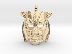 Tiger kabuki-style Pendant small in 14k Gold Plated Brass