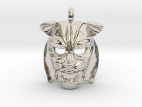 Tiger kabuki-style Pendant small in Rhodium Plated Brass