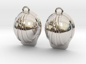 Hard Hat Earrings in Rhodium Plated Brass