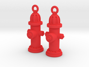 Fire Hydrant Earrings in Red Processed Versatile Plastic