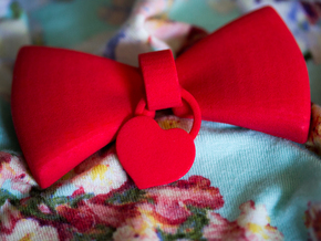 Heart Charm Bow in Red Processed Versatile Plastic