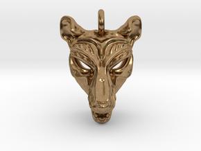 Thylacine (tasmanian tiger) Small Pendant in Natural Brass
