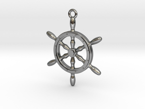 Nautical Steering Wheel Pendant in Polished Silver