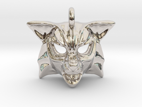 Fox Small Pendant in Rhodium Plated Brass