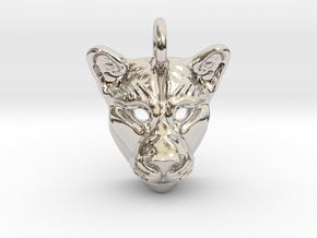 Lioness Pendant Small in Rhodium Plated Brass