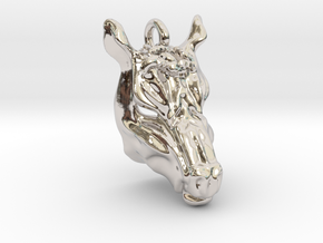 Horse 2 Small Pendant in Rhodium Plated Brass