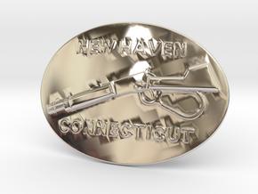 Winchester Belt Buckle in Rhodium Plated Brass