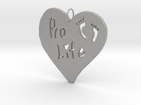 Pro Life Heart Pendant in Aluminum