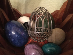 Gothic Egg Shell 3 in Polished Bronzed Silver Steel