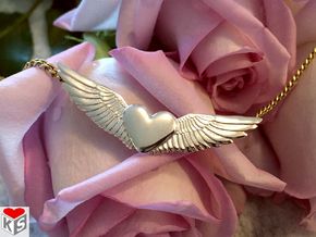 Heart With Wings Pendant in Polished Silver