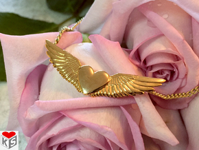 Heart With Wings Pendant in 18k Gold Plated Brass