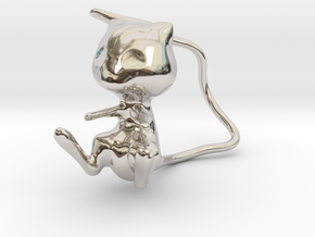 Mew in Rhodium Plated Brass